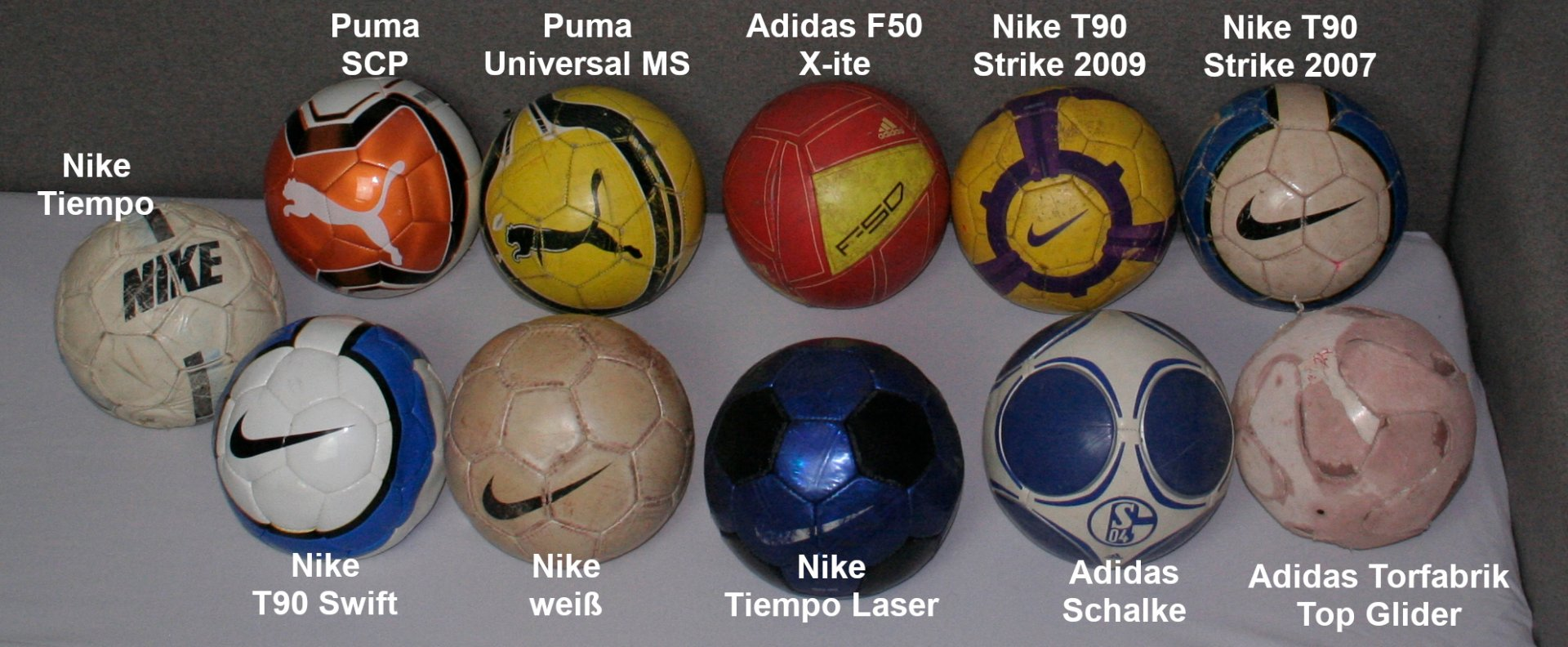 Verschiedene Fußbälle von Adidas, Nike, Puma